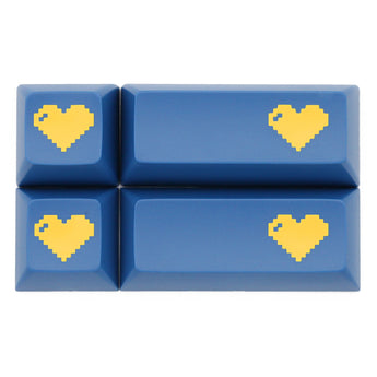 Domikey abs doubleshot keycap pixel heart blue yellow for oem dsa sa cherry profile