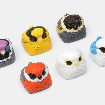 SUN Chubby Owl Bird handcraft resin artisan keycaps for mx stem mechanical keyboards orange yellow grey purple white blue