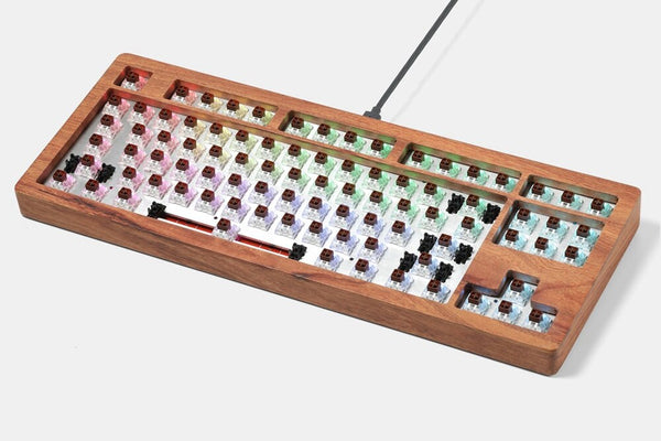 AOPO 87 80% Mechanical keyboard with wooden case rgb type c usb with software programmable hot swappable