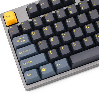 taihao abs double shot keycaps midnight color of black yellow 104 ansi