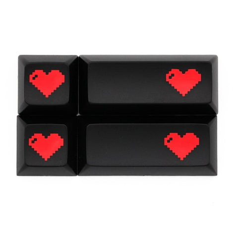 Domikey abs doubleshot keycap pixel heart black red oem dsa sa cherry profile