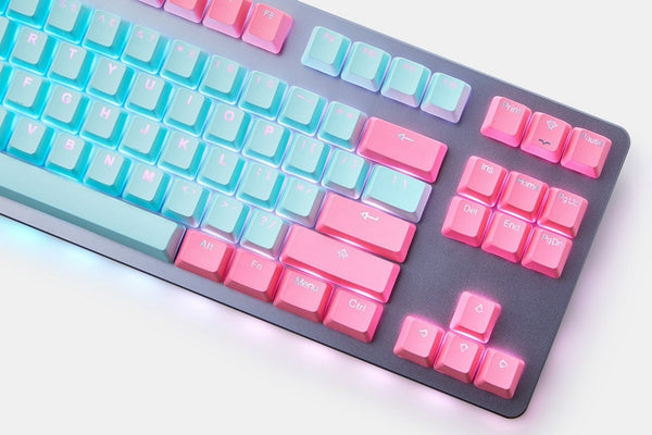 taihao pbt double shot  Backlit oem profile keycaps Miami Cyan Magenta
