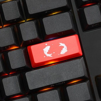 Novelty Keycaps ABS Etched Shine-Through koi fish black red enter backspace
