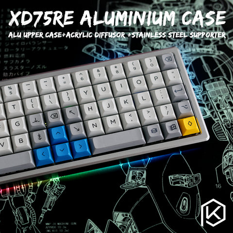 Anodized Aluminium Case For XD75Re AM 60% Custom Keyboard tempered glass Diffuser - KPrepublic