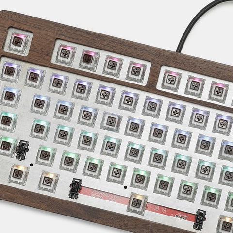AOPO 108 100% Mechanical keyboard wooden case rgb type c software programmable hot swappable