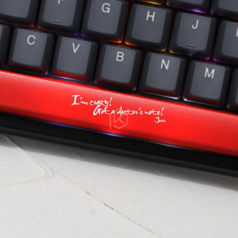 Novelty Shine Through Keycaps ABS Etched, Shine-Through lol jinx I'm crazy got a doctor's note black red spacebar