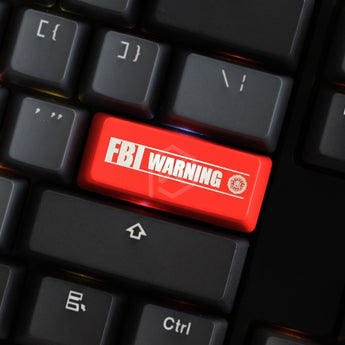 Novelty Shine Through Keycaps ABS Etched, Shine-Through FBI Warning black red for custom mechanical keyboard enter 2.25u