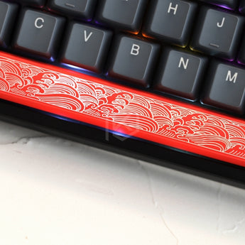 Novelty Shine Through Keycaps ABS Etched, Shine-Through japanese wave black red spacebar custom mechanical keyboards