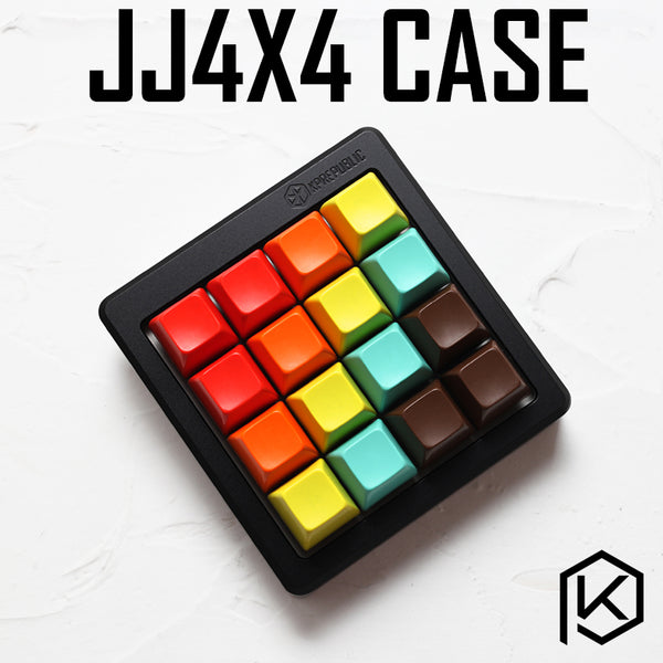Anodized Aluminium cubic case for jj4x4 jj4 custom keyboard acrylic panels stalinite diffuser can support Rotary brace supporter