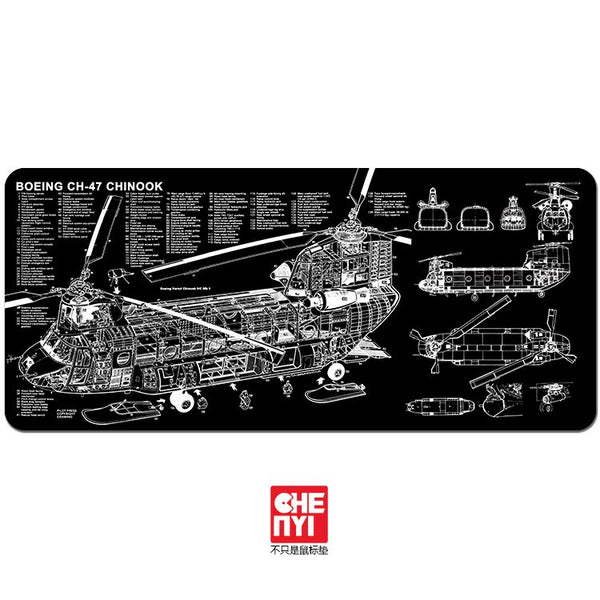 [CLOSED][Pre-Order] Chenyi Mouse pad Boeing ch47 chinook theme non-stitched edge large