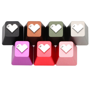 Pixel Heart anodized aluminum keycaps with anodizing for custom mechanical keyboards cherry profile grey black red green silver