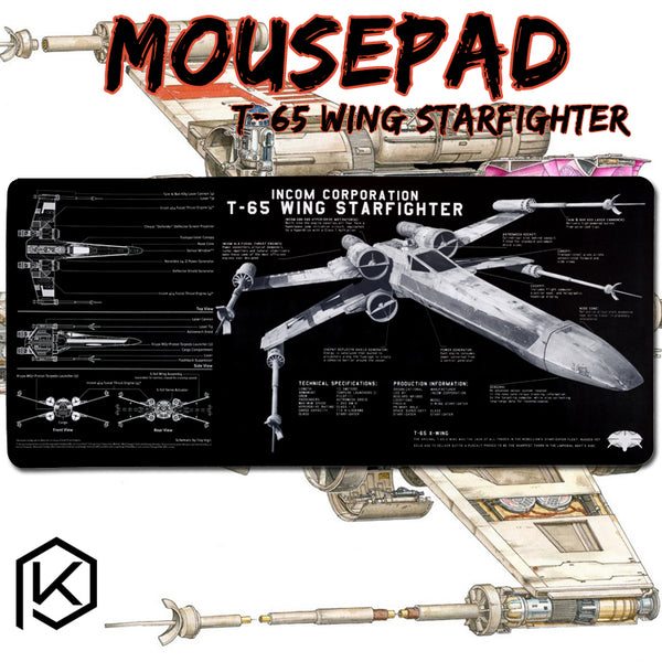 Mechanical keyboard Mousepad t 65 wing starfighter 900 400 4 mm non Stitched Edges Soft/Rubber High quality