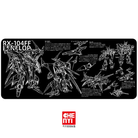 Chenyi Deskmat with RX-104FF Penelope line art and information printed non-stitched