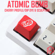 Novelty cherry profile dip dye and sculpture pbt keycap for mechanical keyboards Dye Sub legends atomic fallout 4 red white