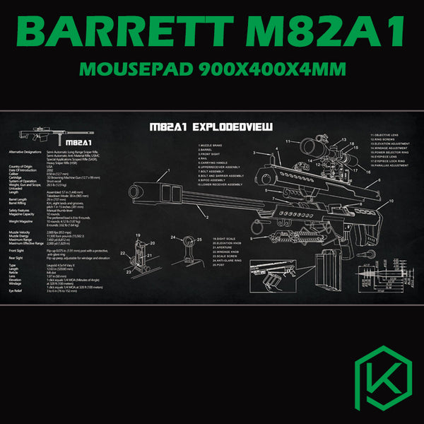 Mechanical keyboard Mousepad barrett m82a1 Gun Disassembly 900 400 4 mm non Stitched Edges Soft/Rubber Highquality