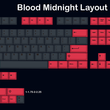 blood midnight Cherry profile Dye Sub Keycap Set thick PBT for keyboard gh60 xd60 xd84 tada68 rs96 zz96 87 104 660 black red
