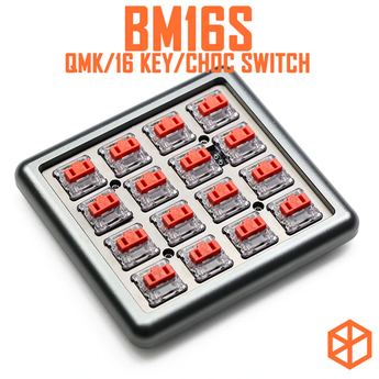 bm16s 16 keys Custom Mechanical Keyboard PCB plate programmed numpad layouts qmk firmware with rgb switch leds choc switch