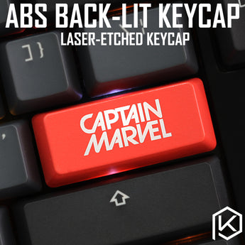 Novelty Shine Through Keycaps ABS Etched, Shine-Through Captain Marvel black red custom mechanical keyboard enter spacebar esc