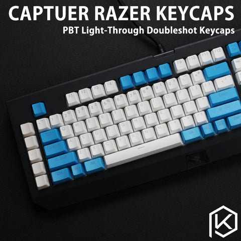 Capturer Backlit Doubleshot PBT Keycap Set Durable Shine-Through Legends OEM profile Compatible for razer black widow