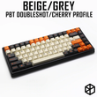 pbt doubleshot keycaps cherry profile carbon colorway beige orange grey for xd60 xd64 tada68 96 xd84 xd68 1800 87 tkl 104 ansi