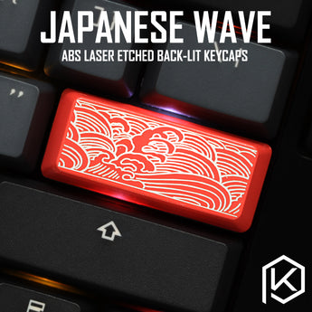 Novelty Shine Through Keycaps ABS Etched Japanese wave black red enter 2.25u