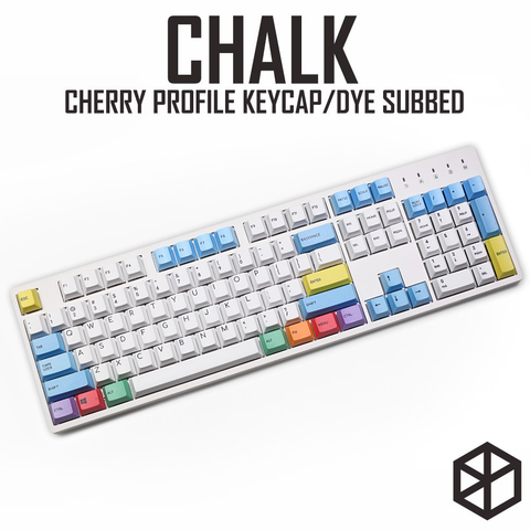 cherry profile Dye Sub Keycap Set PBT plastic chalk crayon 123-key for mechanical keyboard white blue orange gh60 xd64 xd84 xd96 87 104