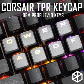 Rubber Gaming Keycap Set Rubberized Keycaps Cherry MX Compatible OEM Profile shine-through Set of 10 keycaps wasd qwer