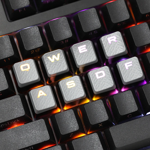 Gaming Keycap Set Rubberized Keycaps Cherry MX Compatible OEM Profile shine-through Set of 10 keycaps wasd qwer