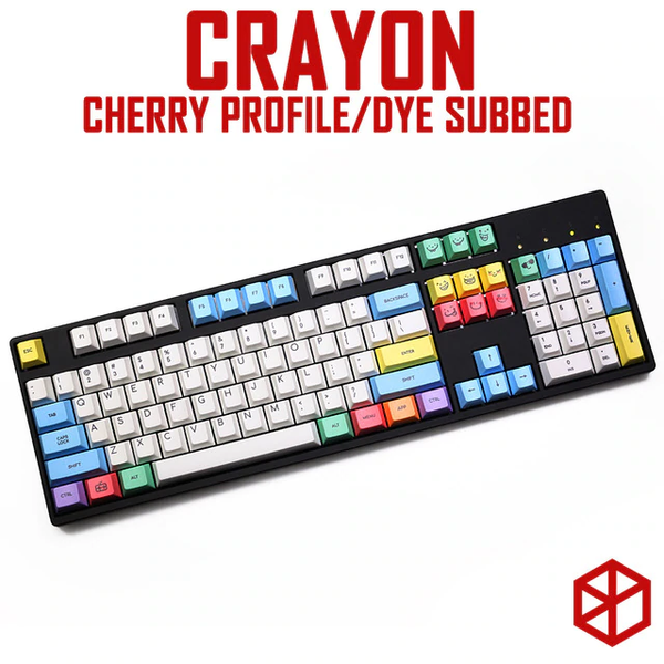 cherry profile Dye Sub Keycap Set PBT plastic crayon chalk for mechanical keyboard white blue orange gh60 xd64 xd84 xd96 87 104