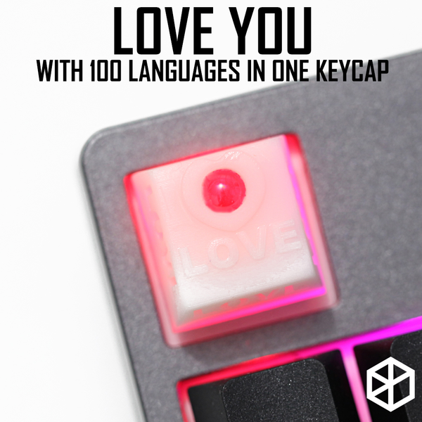Novelty Shine Through Keycaps 3d printed print printing pla 100 kind love custom mechanical keyboards light Cherry MX compatible