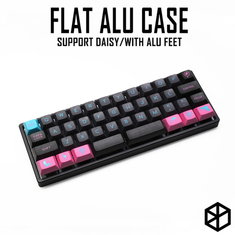 Anodized Aluminium flat case with metal feet for custom mechanical keyboard black siver grey colorway for daisy 40% mini