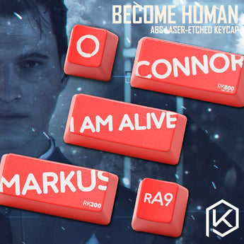 Novelty Shine Through Keycaps ABS Etched detroit become human Markus Kara Connor black red custom mechanical keyboard enter esc
