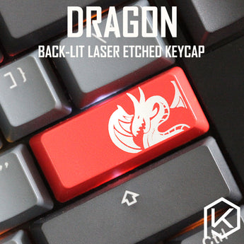 Novelty Shine Through Keycaps ABS Etched dragon red for custom mechanical keyboard enter 2.25u