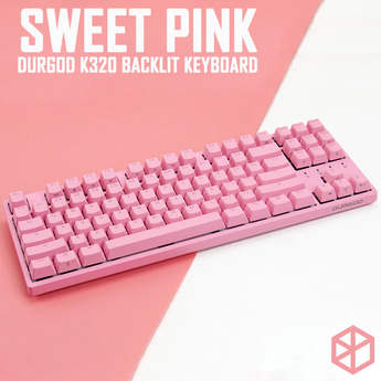 durgod 87 honey sweet pink k320 backlit mechanical keyboard cherry mx switches pbt doubleshot keycaps brown blue red switch
