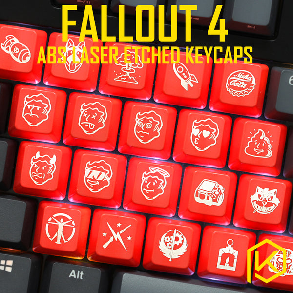 Novelty Shine Through Keycaps ABS Etched, Shine-Through fallout 4 pip boy nuca cola black red for custom mechanical keyboards