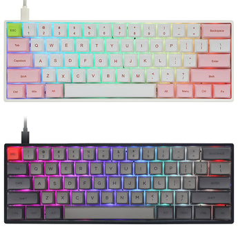 gk61x 60% mechanical keyboard rgb switch hot swap type c pcb case with split spacebar software program