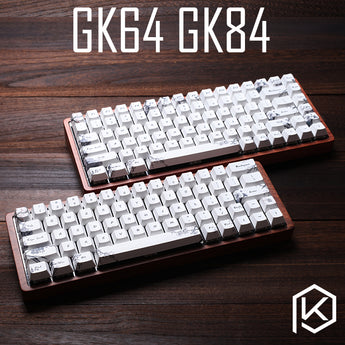 gk64 gk84 Mechanical keyboard dye sub cherry profile keycaps wooden custom light rgb