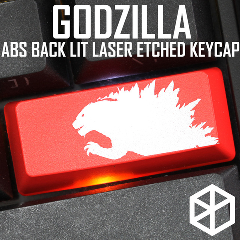 ABS Etched Shine-Through Godzilla black red custom enter backspace spacebar