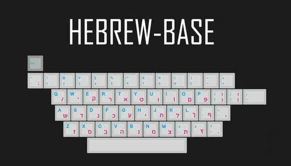 kprepublic 139 Hebrew root blue cyan font Cherry profile Dye Sub Keycap PBT