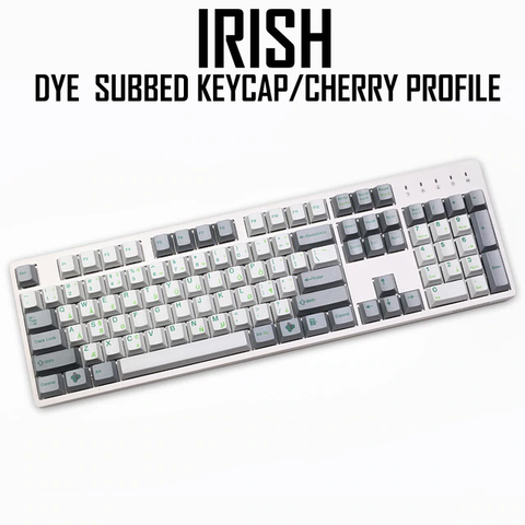 cherry profile Dye Sub Keycap Set PBT plastic green Irish layout white grey colorway for gh60 xd64 xd84 xd96 tada68 87 104