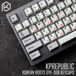 kprepublic 139 Korean root font Cherry profile Dye Sub Keycap Set PBT black red