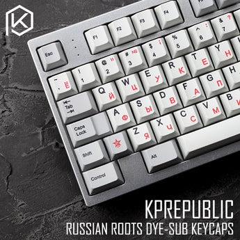 kprepublic 139 Russian root black-red font Cherry profile Dye Sub Keycap Set PBT