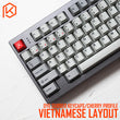 kprepublic 139 Vietnamese root black-red font Cherry profile Dye Sub Keycap PBT