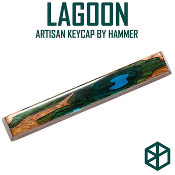 HAMMER LAGOON OASIS ARTISAN SPACEBAR 6.25u Resin and wood Compatible with Cherry MX stems
