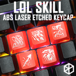 Novelty Shine Through Keycaps ABS Etched  black red r2 lol hero skill