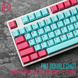 pbt doubleshot keycaps cherry profile miami colorway for ansi 104 mechanical keyboard cyan magenta pink for cherry 3494 3000