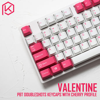 pbt doubleshot keycaps cherry profile Valentine colorway for ansi 104 mechanical keyboard white pink for cherry 3494 3000
