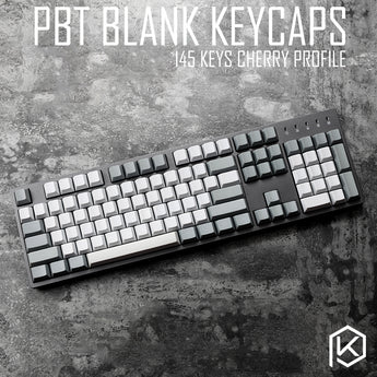 145keys cherry profile pbt whitegrey blank keycaps custom mechanical keyboards gh60 xd64 xd84 rs96 zz96 poker2 87 104