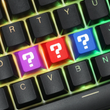 Novelty cherry profile dip dye laser etched pbt keycap question mark r1 1x purple red blue