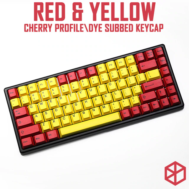 Red Yellow Cherry profile Dye Sub Keycap Set thick PBT for keyboard gh60  xd60 xd84 tada68 rs96 zz96 87 104 660 yellow red